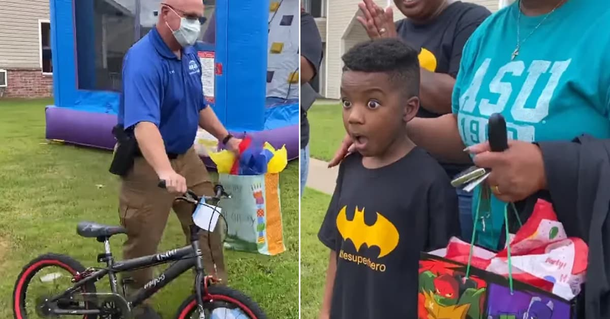Cop who handled boy's stolen bike case surprised him with a new one on his birthday - my positive outlooks