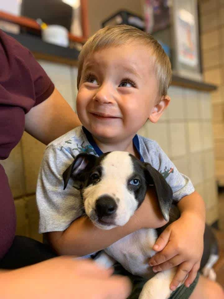 Bentley Boyers holding Lacey the puppy with a cleft lip