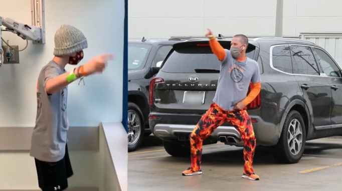 Aiden Yielding and Chuck Yielding dancing