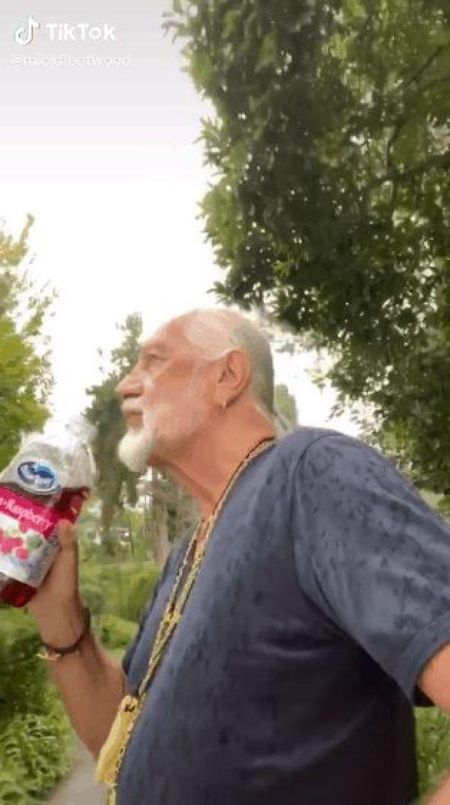 Mick Fleetwood skating while drinking Ocean Spray Cran-Raspberry Juice