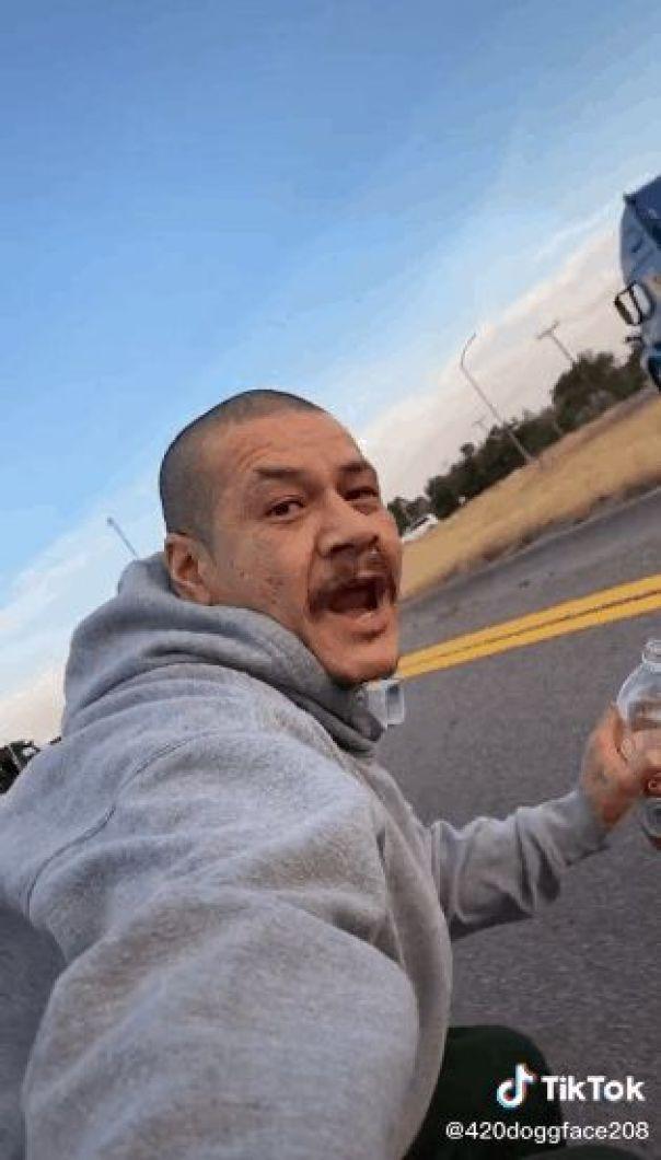 Nathan Apodaca skating while drinking Ocean Spray Cran-Raspberry juice