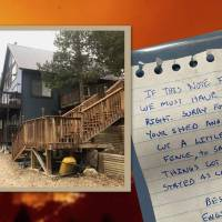 Man finds cabin intact and note from firefighters after wildfire burned dangerously close