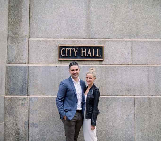 Billy Lewis and Emily Hugg get married at City Hall in Chicago