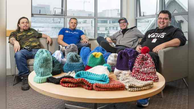 Men in recovery who've started a knitting club at Phoenix Society