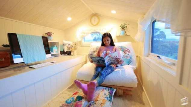 The tiny home comes with a comfortable guest house.