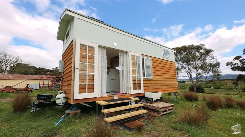 The front side of the tiny house with a walk-in closet