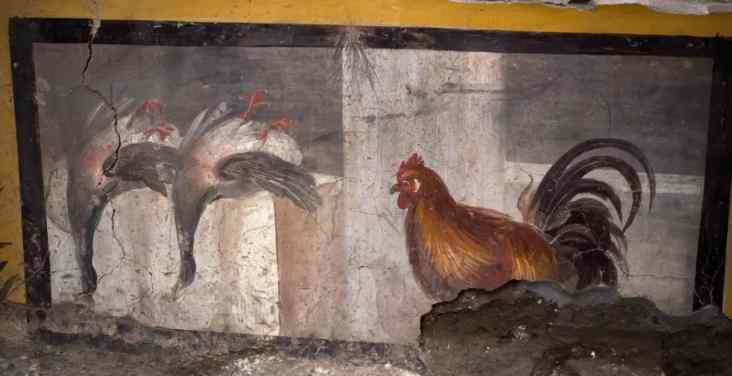Another painting shows two mallards painted upside down beside a rooster.