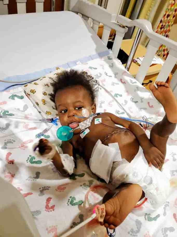 Kasen Donerlson on a hospital bed after his liver transplant