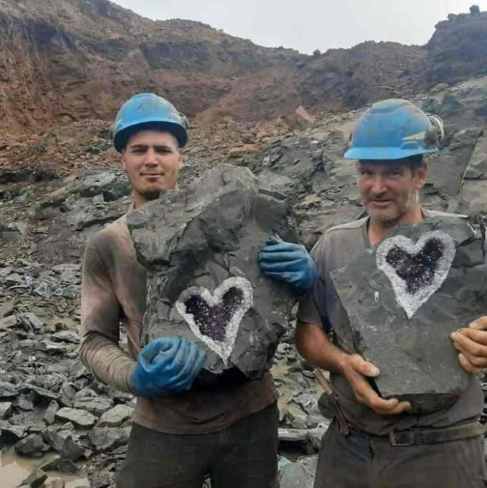 Miners who discovered the heart-shaped amethyst geode in Uruguay