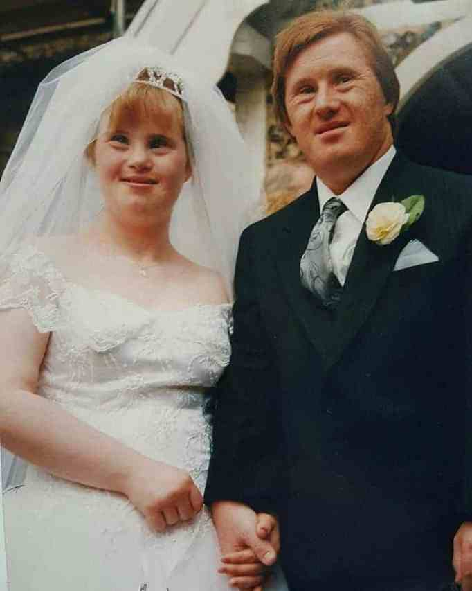 Maryanne and Tommy looking happy on their wedding day.