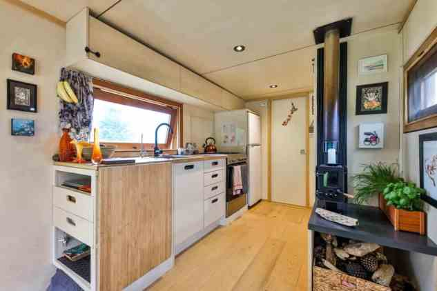 The kitchen of a tiny house truck