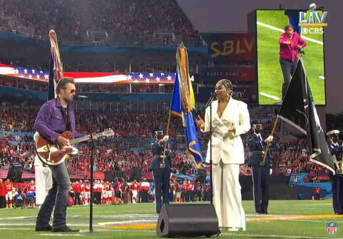Eric Church and Jazmine Sullivan at the NFL Super Bowl performing the National Anthem