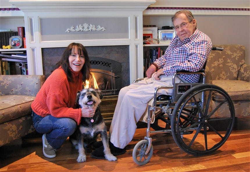 Sherri Franklin with Pawpaw and his former owner John Weston