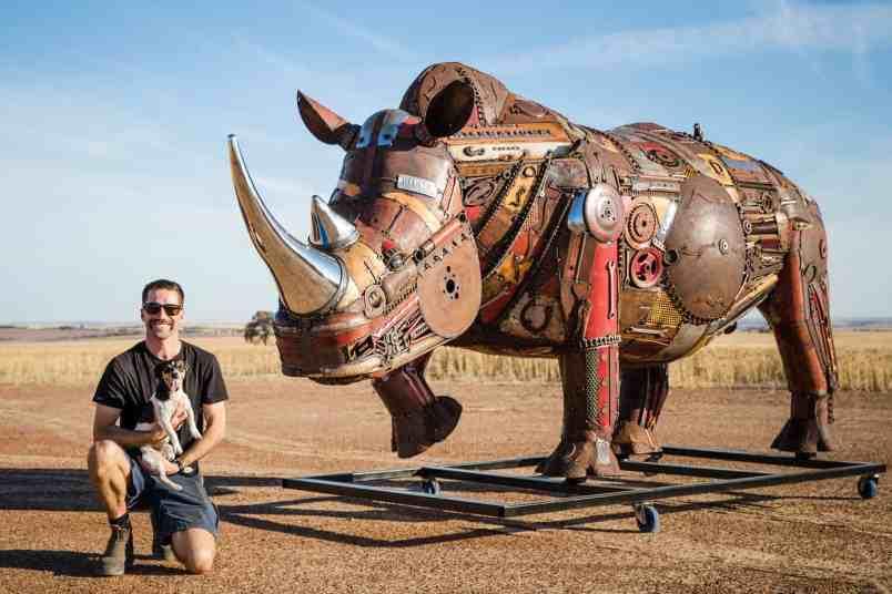 Jordan Sprigg and his latest creation, an extinct African rhino
