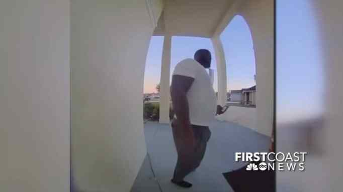 A man captured in a footage of a home security camera