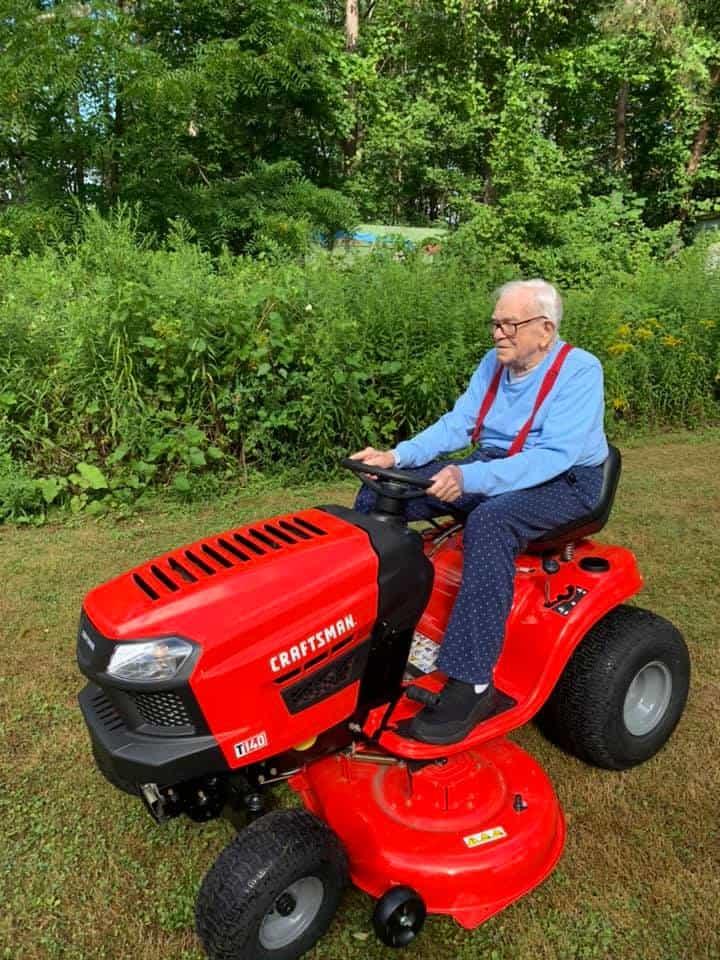 Gordon Blakeslee riding his new Craftsman mower