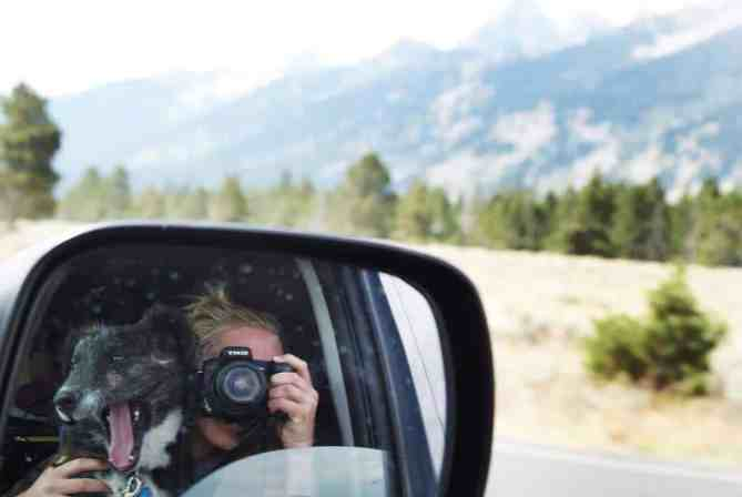 Emily Trost taking a photo of herself with Montana on their car's side window
