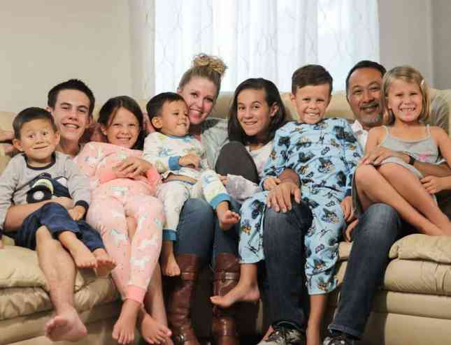 Pam Willis and Gary Willis with their seven adopted children