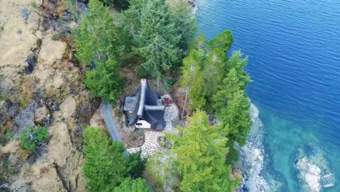 A view of the Winckler Cottage from above