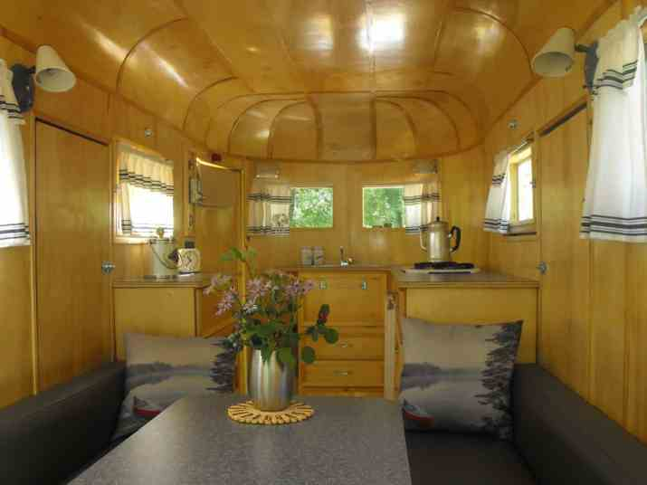 Inside the camper trailer made by Fred Cote