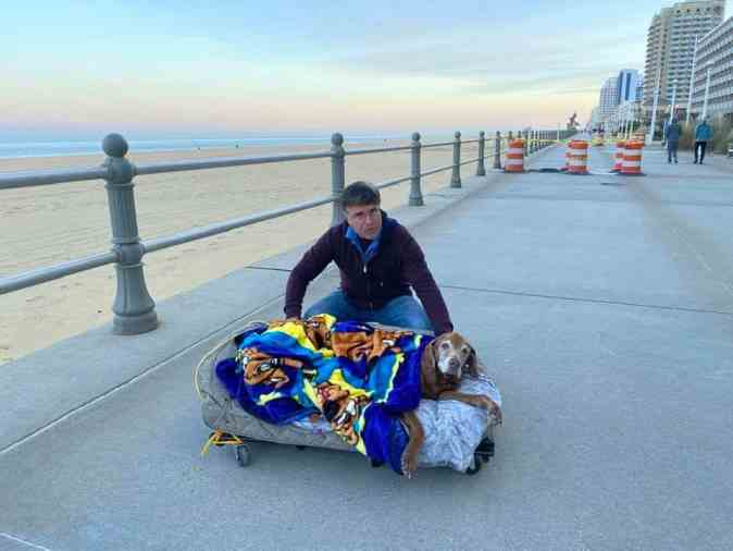 Tom Antonino and Cocoa on her mobile bed