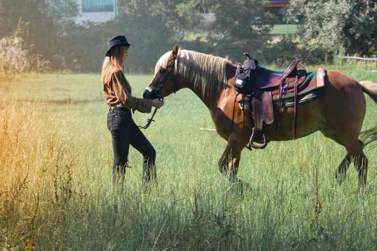 Женщина с коричневой лошадью на пастбище