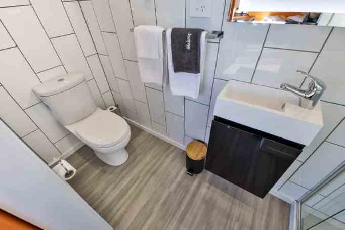 The flushing toilet inside a tiny house