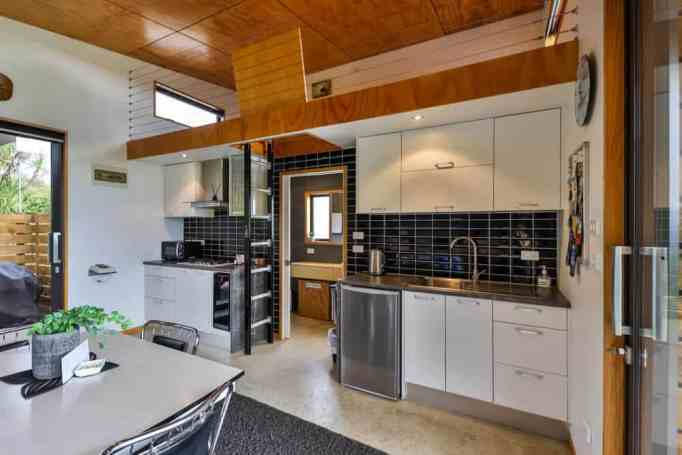 The kitchen inside a tiny home
