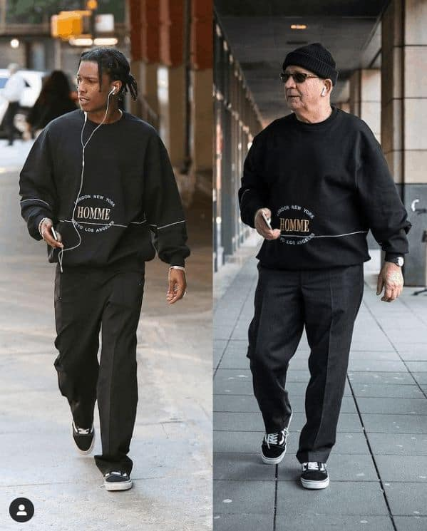 """""""Who wore it better?"""" It's really hard to tell as Gramps totally rocks his recreation of celebrity OOTDs."""