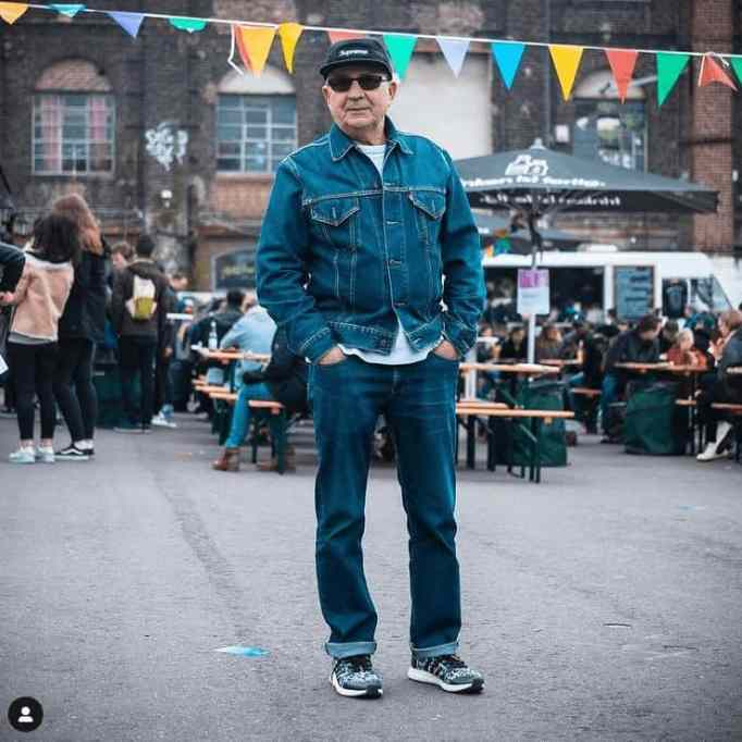 This 75 year old Gramps is totally rocking his denim overall outfit!
