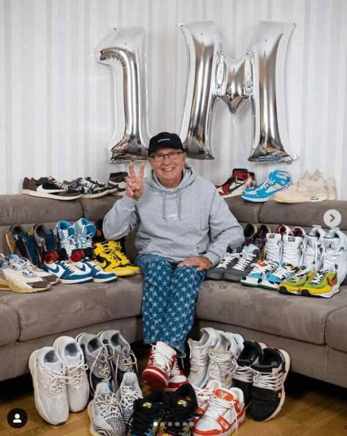 Gramps, celebrating his 1 Million follower on Instagram and awesome collection of kicks.