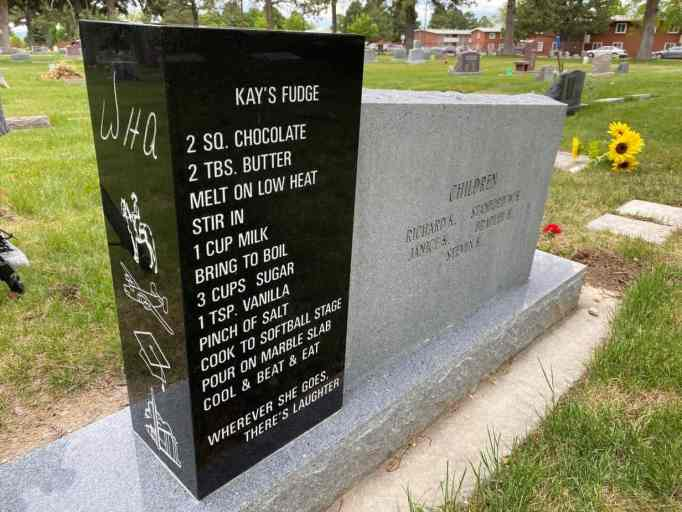 The headstone of Kay and Wade Andrews showing Kay's fudge recipe