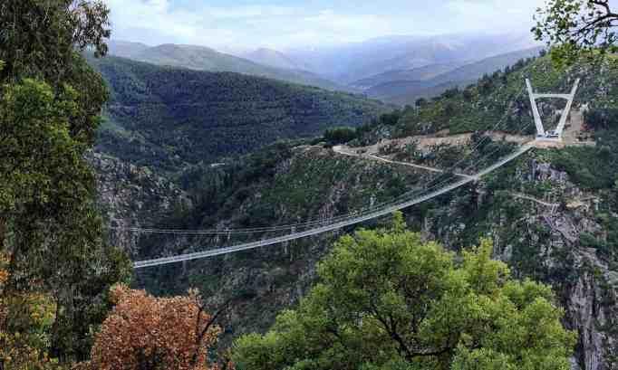 suspension bridge boasts its picturesque view