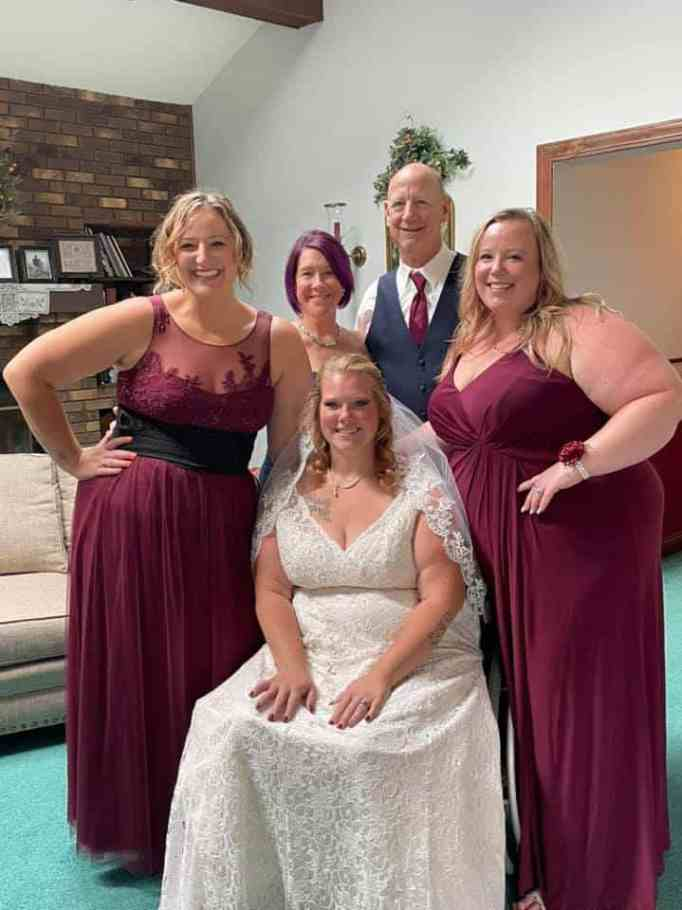 Brittney Bedwell and family during her wedding day