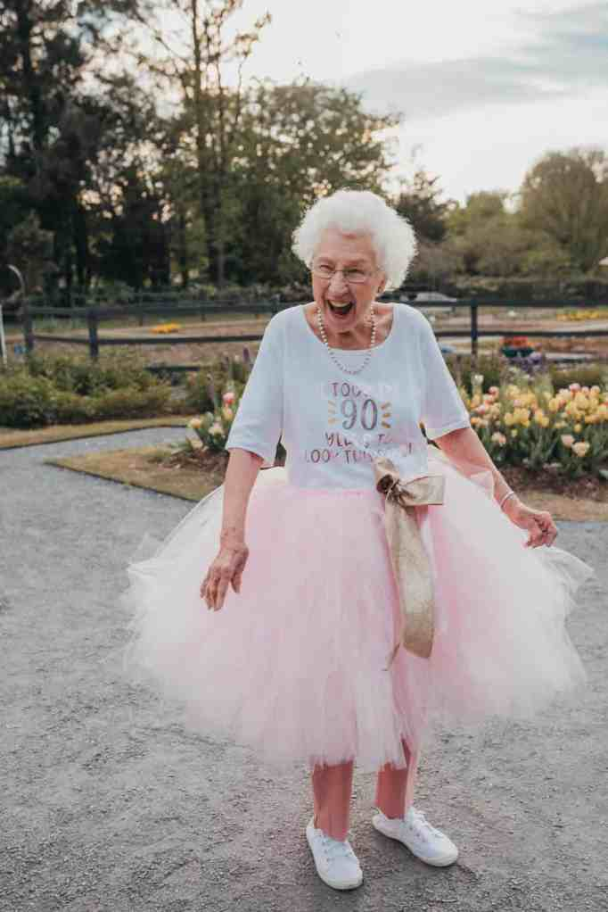 A grandma laughing
