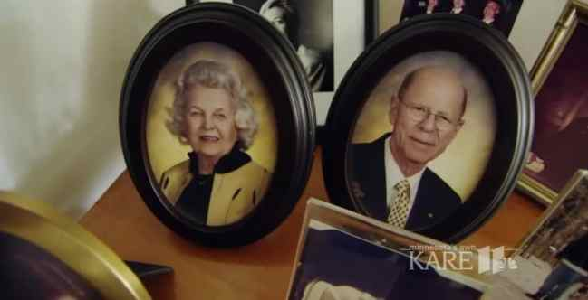 Framed photos of Keith Davison and his late wife Evy