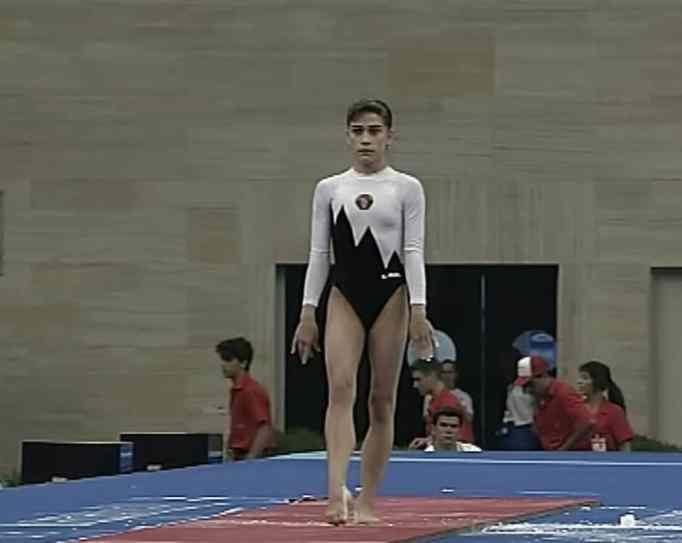 Oksana Chusovitina during the 1992 Olympics in Barcelona