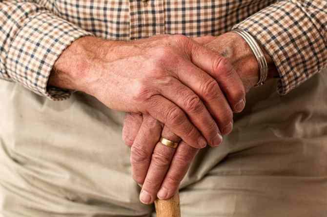 Hands of an elderly man