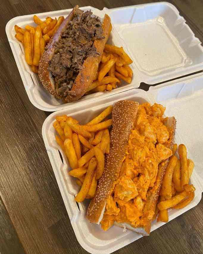 Cheesesteaks with fries
