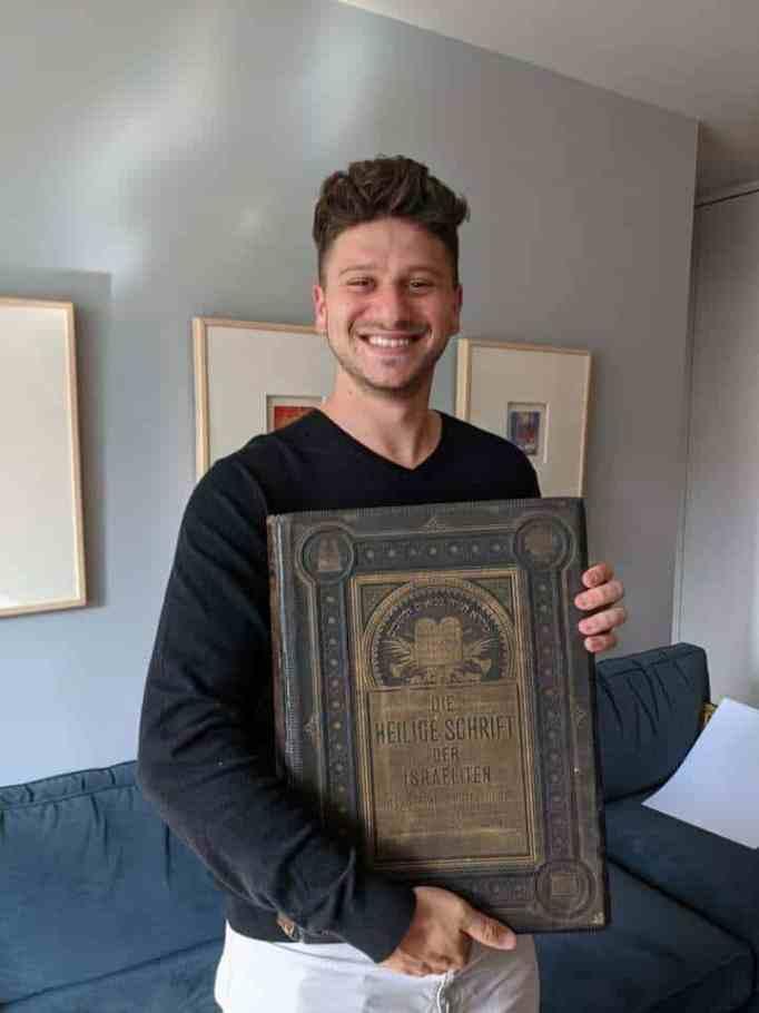 Jacob Leiter holding The Leiter Bible