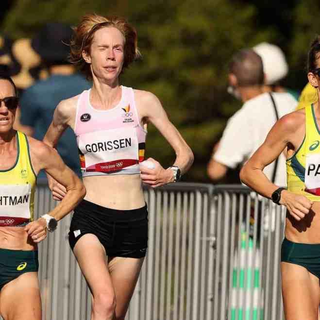 Mieke Gorissen during the women's marathon in the Tokyo Olympics