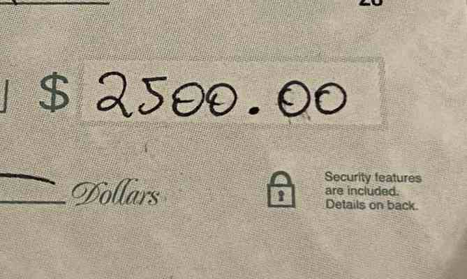 A check for $2,500