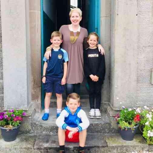 Clare Mackintosh with her three children