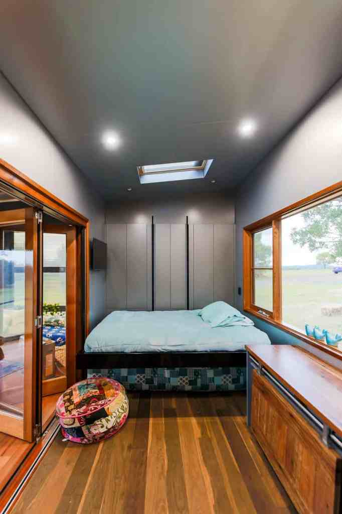 The bedroom of an elderly-, disability-, and mobility-friendly tiny home