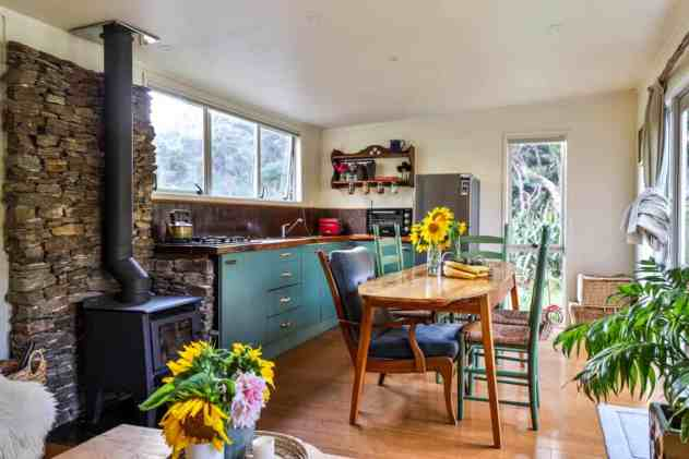 The kitchen of Ruby's tiny house