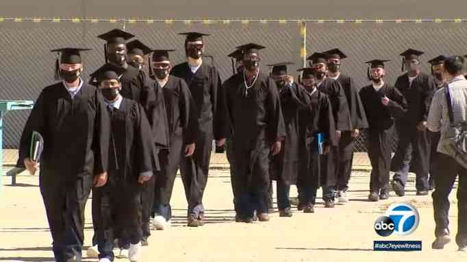 Inmates marching for their graduation