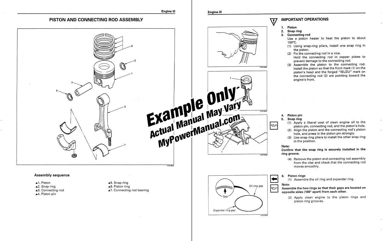 Engine repair shop service manual example