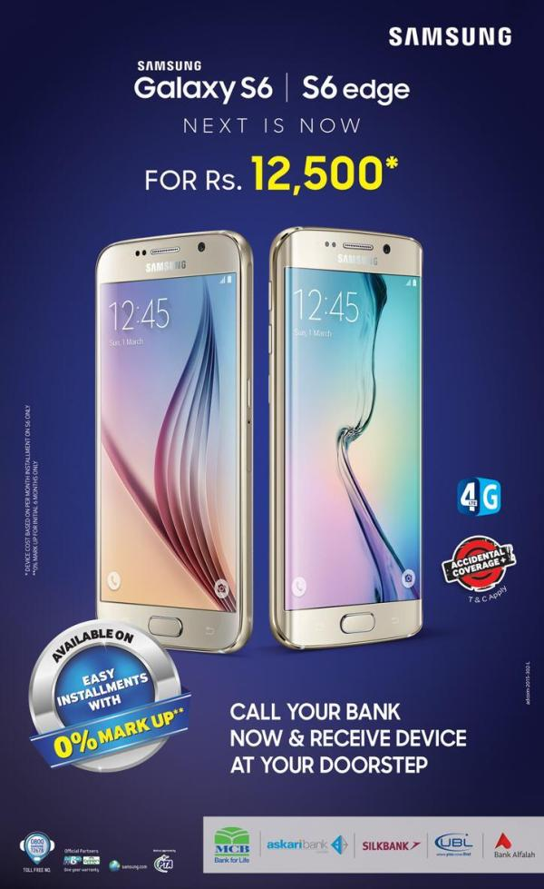 Samsung S6 Edge Now with Easy Installments Rs 12500 Offering Bank List