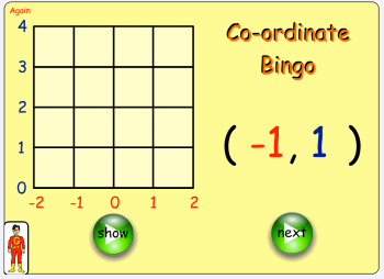 co ordinates bingo