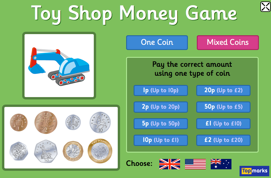 Toy Shop Money Game by Topmarks